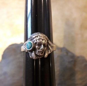 Vintage Sterling Art Deco Indian Head Ring